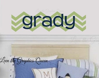 Chevron Wall Decal with Name Modern Style Monogram for Nursery or Kid Room or ANY Word