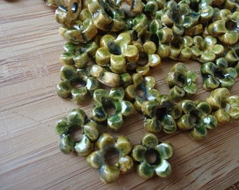 Forest Moss Green Flower Stoneware Beads