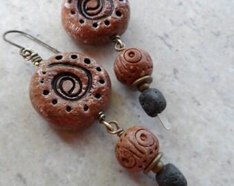Totems ... Polymer Clay, Lava and Brass Polynesian Tribal Rapa Nui Moai-Inspired Tiki, Boho, Earthy Earrings
