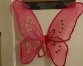 Halloween Costume Fairy Princess  Wings, Pink Wings, Glitter, Pixie Costume, Bug Costume, Insect