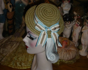 Mini Straw Boater Hat Gatsby Style Tan