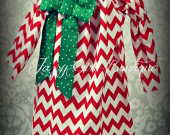 Girls Christmas Peasant Dress in Red Chevron with Green Polka Dot Bow Accent  Sizes 12mo through 12 years