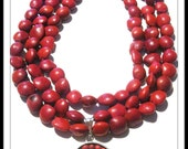 Caprice Designs, Multiple Strands, Huayruro Seeds, Red, Sterling Silver, Necklace