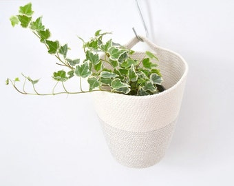 Cotton Cord hanging pot with colour stitching in grey
