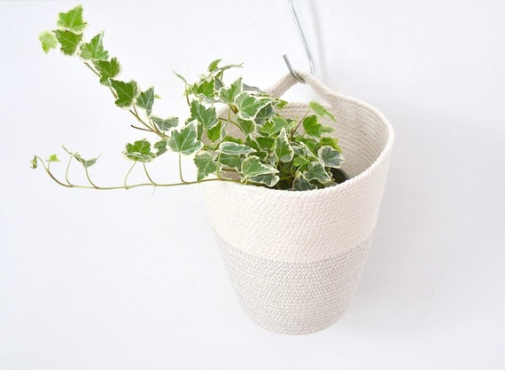 Hanging basket, Boho style decor, Hanging storage, Kids room storage, Plant pot, Grey and white decor, Coil pot basket, hanger pot, Rope pot
