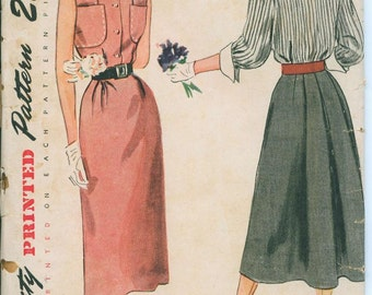 1940s Simplicity 3287 Dress Sewing Pattern Vintage Size 16 Bust 34 Shirtdress