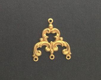 4 Loop Raw Brass Scrolled Chandelier Pendant Findings mtl084