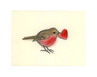 "Valentine Anniversary Love Bird Art print -   Little Love heart - (6"" X 4"" print) - 4 for 3 SALE"