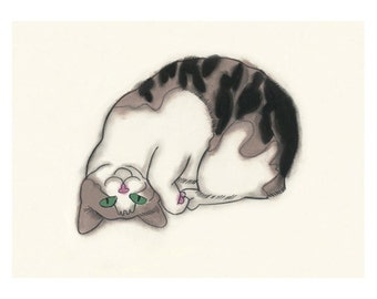 "Cat illustration tortoiseshell cat  Upside Down you turn me - 6"" X 4"" - 4 for 3 Sale"