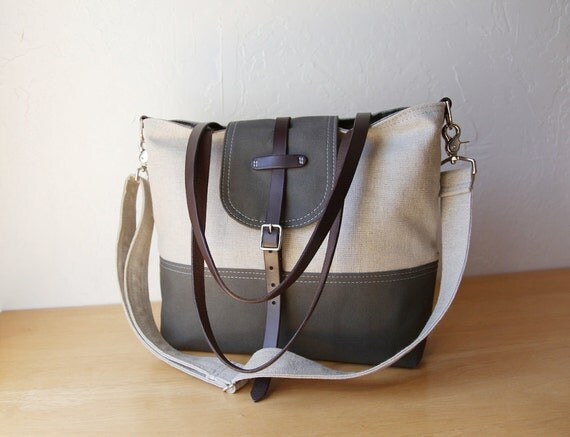 2-Tone Tote in Hemp and Dark Olive with detachable shoulder strap