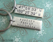 Latitude Longitude Key Ring. One Large Rectangle Pendant. Custom Hand Stamped antiqued charm. copper, silver, gold plate. souvenir gift guys
