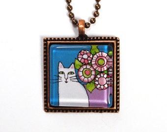SALE White Cat Art Jewelry/ Garden Cat Glass Pendant by Susan Faye