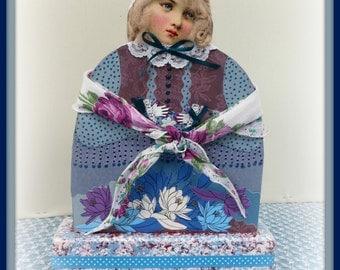 Gloria Handmade Mixed Media Victorian Collage Art Doll
