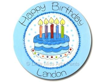 11 inch Personalized Birthday Plate - Fancy Birthday Cake Design