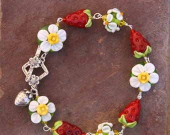 Strawberry Garden SRA Lampwork DeSIGNeR Bracelet Strawberries Shortcake Fruit Spring Summer Dessert