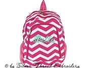 Personalized Backpack Hot Pink Chevron School Monogrammed