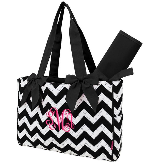 personalized diaper bag chevron black white quilted. Black Bedroom Furniture Sets. Home Design Ideas