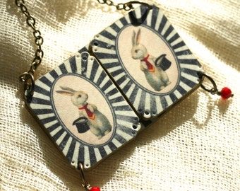 Circus Bunny Peek A Boo Necklace - Circus Necklace - Zebra Necklace - Circus Jewelry - Animal Jewelry - Shrink Plastic - Bunny - Zebra