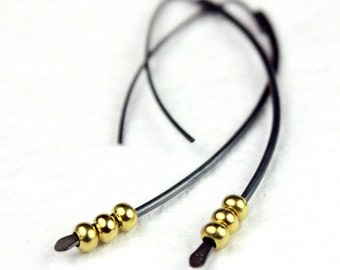 Dark Silver Threader Earrings Darkly Oxidized with Brass Beads, Curve Spike Earrings