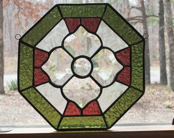 Stained Glass Octagon Panel, Beveled Victorian Flower, Sage Green & Dusty Rose (Clearance)