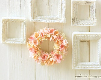 Dollhouse Miniature Plant - Pink Flower Wreath 1/12 Scale Miniatures