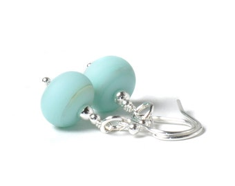Sky Blue Drop Earrings | Sterling Silver and Artisan Lampwork Glass Earrings | Pale Blue Earrings | Coast Collection