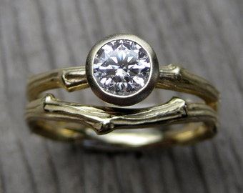Diamond Twig Engagement and Wedding Ring Set: Two Rings in White, Yellow, or Rose Gold, .50ct