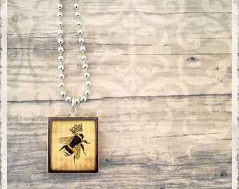 Queen Bee - Scrabble Necklace - Scrabble Pendant Art Charm Jewelry - Customize -