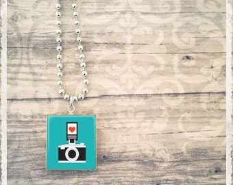 Scrabble Tile Art Pendant -  I Love My Camera - Scrabble Jewelry Charm - Customize - Choose Your Style