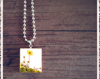 Scrabble Game Tile Jewelry - Wild Flower - Scrabble Pendant Charm - Customize - Choose Your Style
