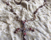 Lilygrace Silver Baroque Cross with Vintage Rhinestones, Freshwater Pearls and  Labradorite Beads