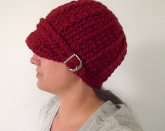 Pumpkin Spice Womens Hat Womens Beanie Womens Cap Chunky Crochet Winter Hat Trendy Fall Hat Cozy Autumn Hat Silver Buckle Fall Accessory