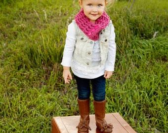 Toddler Scarf Toddler Scarflette Toddler Girl Scarf Toddler Girl Clothes Raspberry Pink Scarf Pink Scarflette Button Scarf Button Scarflette