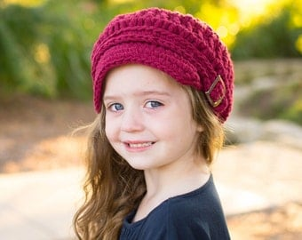 Toddler Newsboy Hat 1T to 2T Toddler Girl Hat Toddler Boy Hat Toddler Girl Newsboy Toddler Boy Newsboy Cap Buckle Crochet Newsboy Red Wine