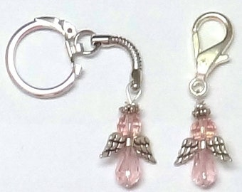 Pink Breast Cancer Angel Purse Charm or Key Chain - ACS Relay for Life Donation - Ready to Ship