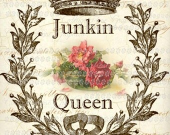 JUNKIN QUEEN printable large format digital image download Crown pink roses Buy 3 Get one Free