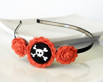 Jolly Roger - HEADBAND - ric rac rosettes, covered button - black, orange - Halloween