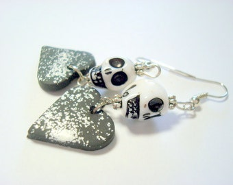 Salt and Pepper Day of the Dead Sugar Skull and Heart Earrings