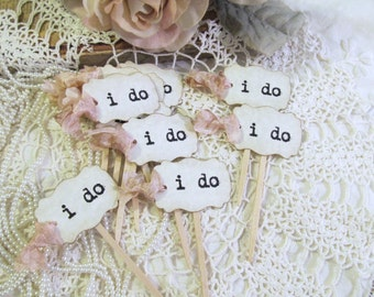 Wedding MINI Cupcake Toppers Party Picks - i do - Set of 24 - Choose Ribbons - Vintage Rustic Shabby Style Wedding Small flags picks