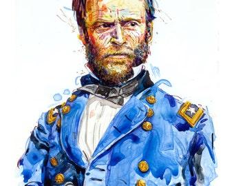 Watercolor painting-portrait of Union Civil war general William T Sherman