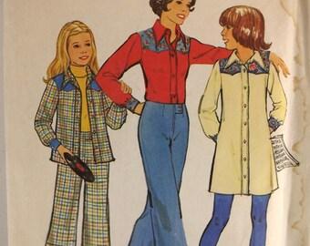 Vintage 70s Sewing Pattern, Girls Dress or Shirt, Wide Leg Pants, Size 10