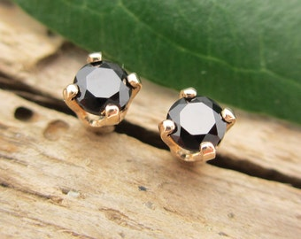 Black Spinel Earrings in Gold, Silver, Platinum, or Palladium with Genuine Gems, 3mm - Free Gift Wrapping