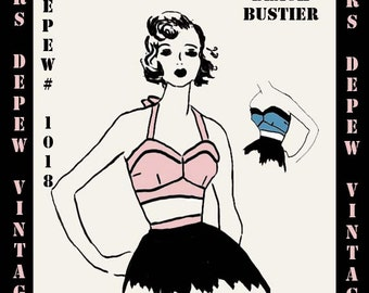 Sewing Pattern Beach Bustier 1950's Style Halter Top Multi Size Depew 1018 -INSTANT DOWNLOAD-