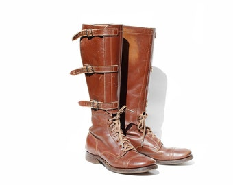 Vintage Brown Leather Riding Boots / Strap Boots / size 8.5