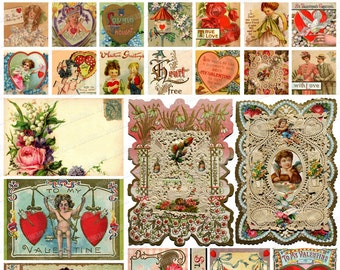 LOVE - Digital Printable Collage Sheet - Victorian Valentine Sampler with Vintage Postcards, Antique Lace, Pretty Angels, Hearts & Cherubs