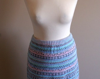 80's Pastel Striped Sweater Skirt