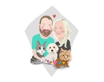Custom Family Portrait: any size family