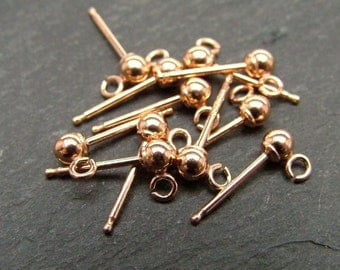 Rose Gold Filled Ear Post w/ball 3mm ~ PAIR (CG6224)