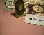 Prim Moons and Nature 5 Postcard Gift Collection No. 1 with OOAK Prim Acorn Carving