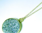 Teal Blue Necklace Blue Drusy Necklace Bezel Pendant Blue Statement Necklace Gemstone Necklace Drusy Jewelry Druzy Jewelry FD-P-105A-BD/g
